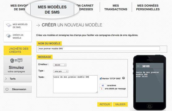 modèle SMS