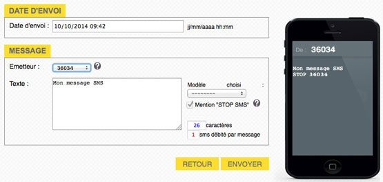 rédaction d'un message SMS