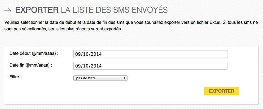 export des réponses SMS