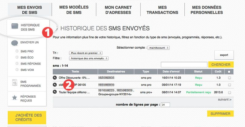 interface statistiques SMS