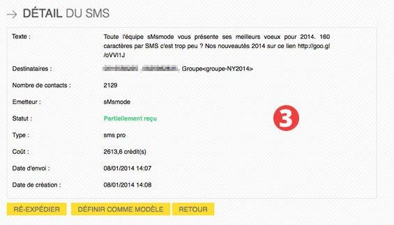 détail du rapport statistique SMS