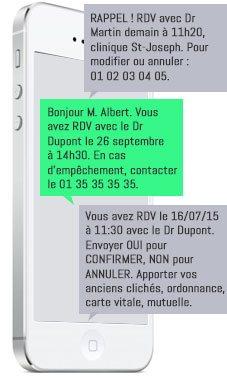 message rappel RDV médical par SMS