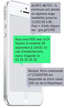 exemple d'alertes réalisées par SMS
