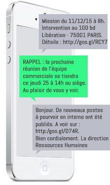 Exemples de communication interne réalisée par SMS