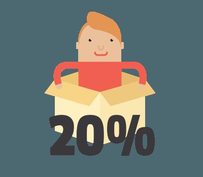 ouverture d'un e-mail : 20%