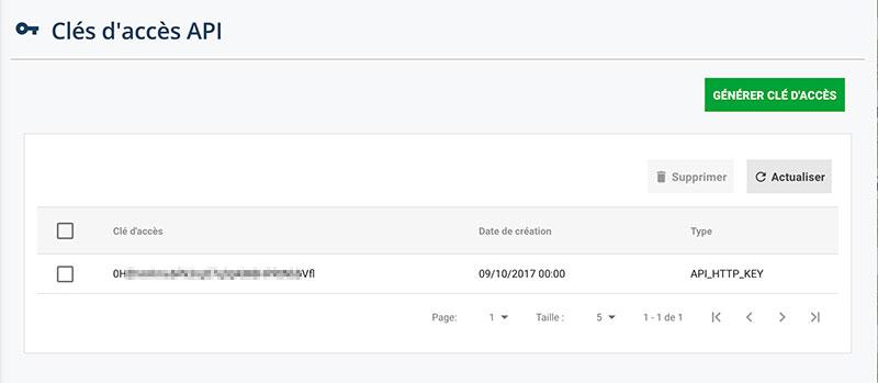génération d'une clé d'accès API pour la connexion du service Zapier