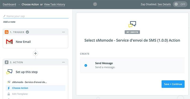 sélection de l'action envoi de SMS