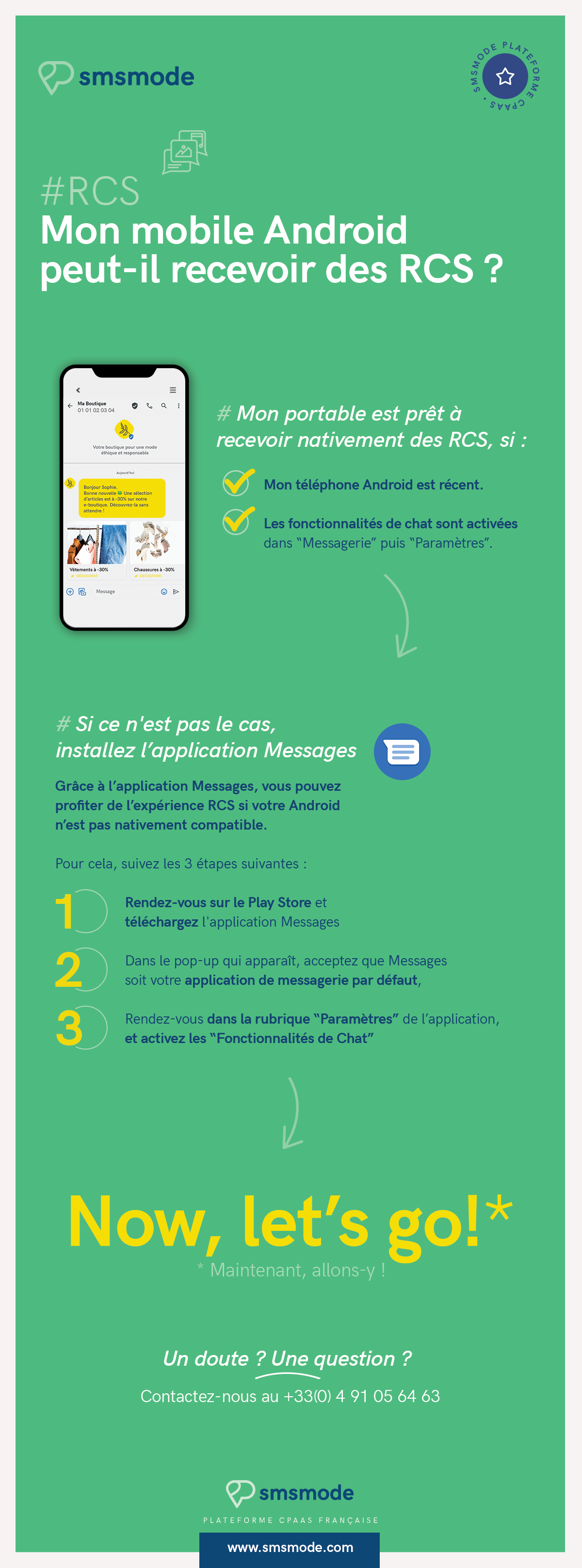 infographie smsmode mode d'activation RCS mobile